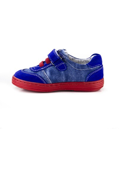 Minipicco Erkek Çocuk Saks Mavi Deri Ayakkabı