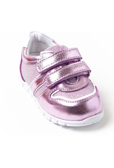 Minipicco Kız Bebek Pembe Deri İlk Adım Ayakkabı