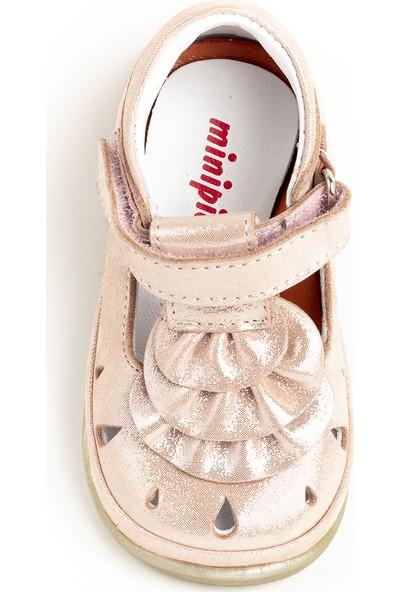 Minipicco Kız Bebek Pudra Deri İlk Adım Ayakkabı