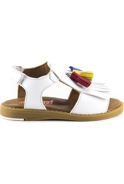 Minipicco Kız Çocuk Beyaz Deri Sandalet