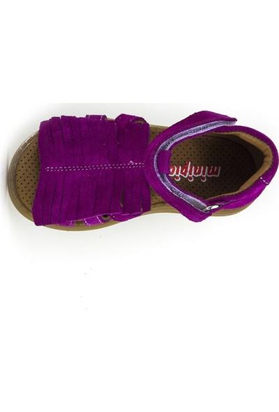Minipicco Kız Çocuk Fuşya Deri Sandalet