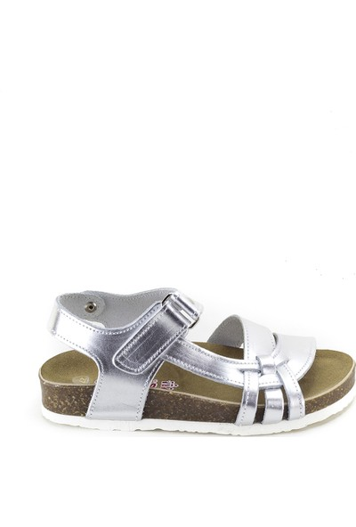 Minipicco Kız Çocuk Gümüş Deri Sandalet