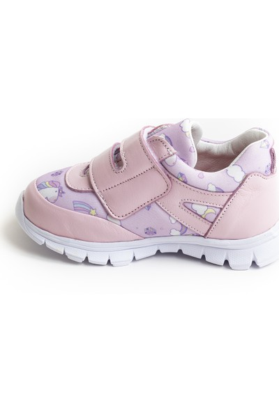 Minipicco Kız Çocuk Pembe Deri Spor Ayakkabı