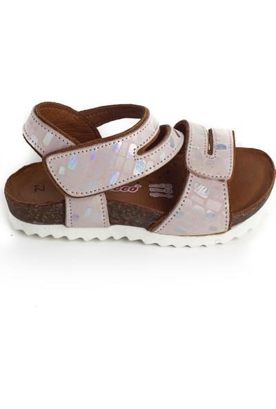 Minipicco Kız Çocuk Pudra Deri Sandalet
