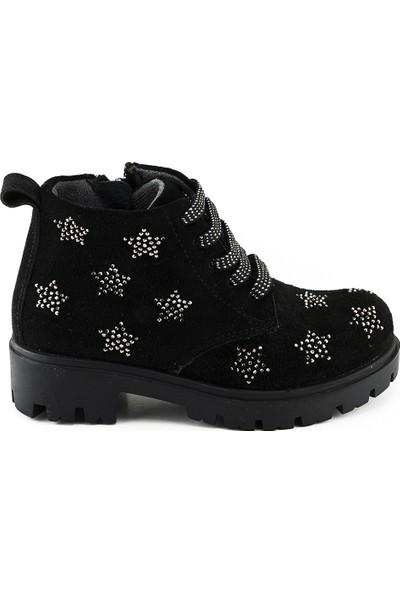 Minipicco Kız Çocuk Siyah Deri Bot