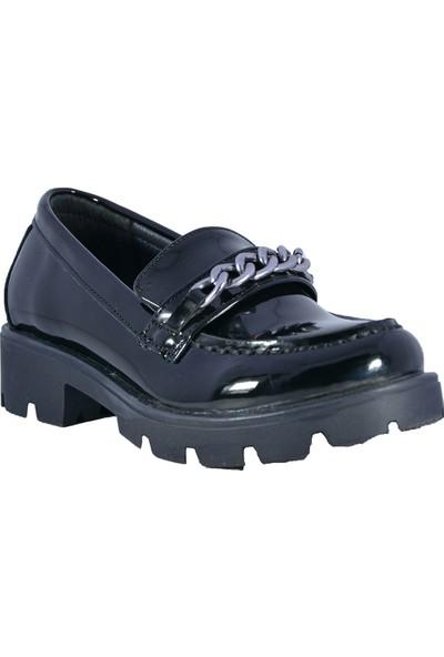 Minipicco Kız Çocuk Siyah Rugan Ayakkabı