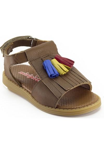 Minipicco Kız Çocuk Taba Deri Sandalet