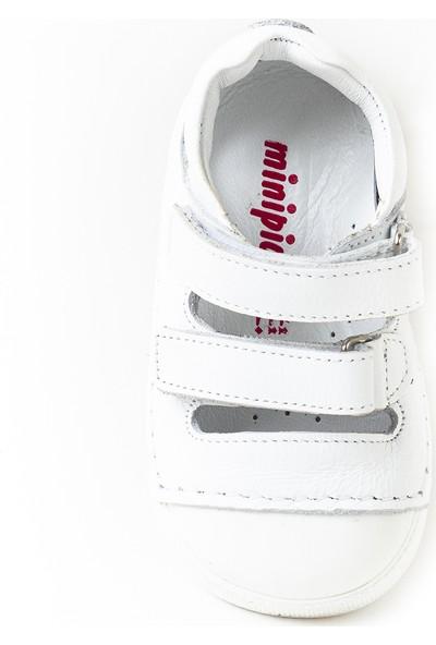 Minipicco Unisex Bebek Beyaz Deri İlk Adım Ayakkabı