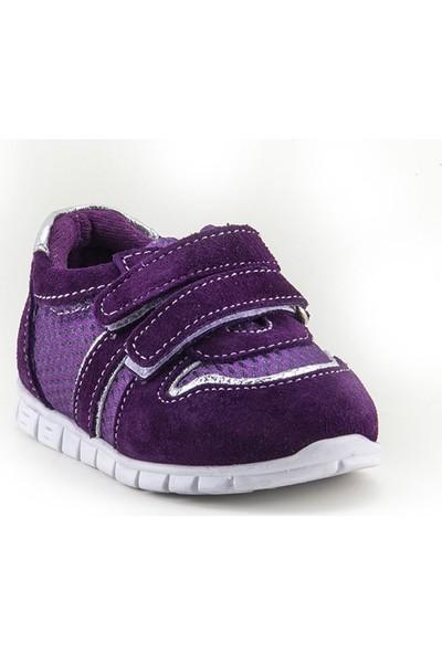Minipicco Unisex Bebek Mürdüm Deri İlk Adım Ayakkabı