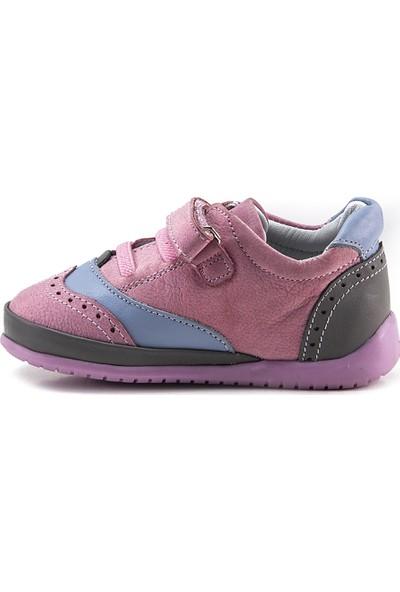 Minipicco Unisex Bebek Pembe Deri İlk Adım Ayakkabı