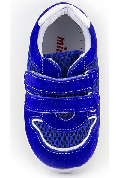 Minipicco Unisex Bebek Saks Mavi Deri İlk Adım Ayakkabı