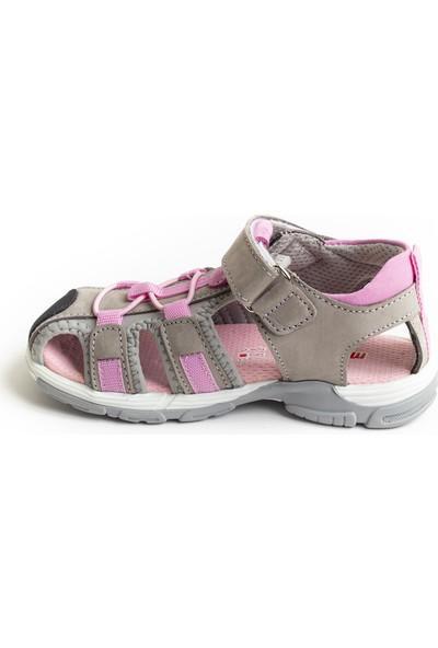 Minipicco Unisex Çocuk Gri Pembe Deri Outdoor Sandalet