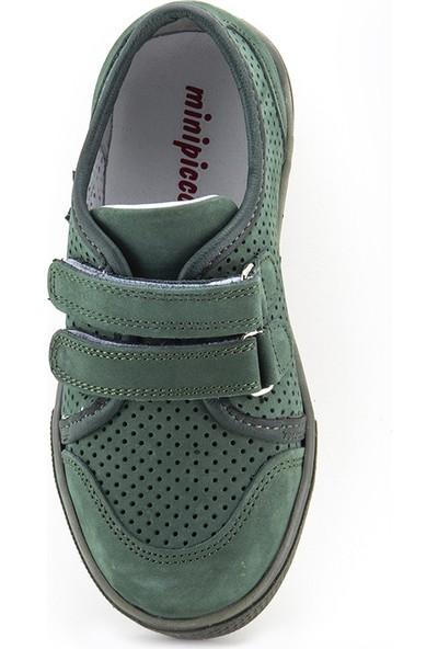 Minipicco Unisex Çocuk Haki Deri Ayakkabı