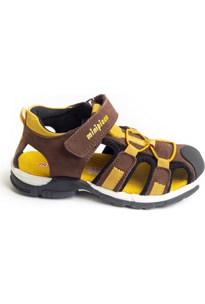 Minipicco Unisex Çocuk Kahve Sarı Deri Outdoor Sandalet