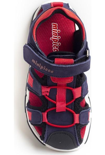 Minipicco Unisex Çocuk Lacivert Deri Outdoor Sandalet