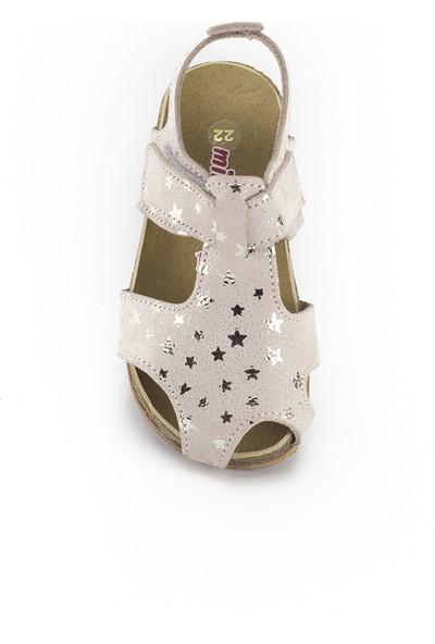 Minipicco Unisex Çocuk Yıldızlı Altın Deri Sandalet