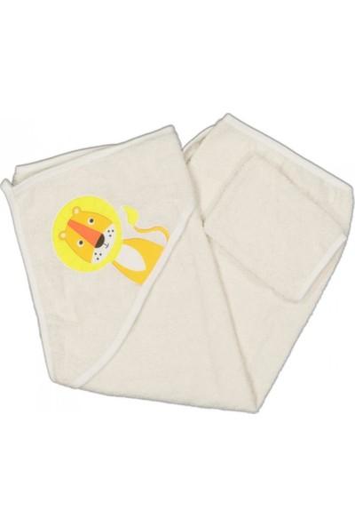 AlpCollection Beyaz Aslan Nakışlı Erkek Bebek Silgi Banyo Havlusu