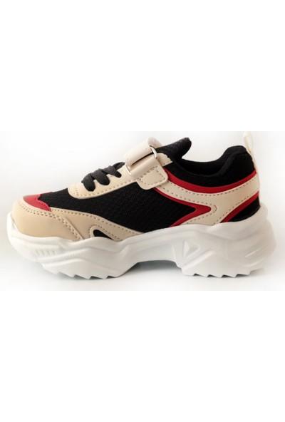 Pabucmarketi Comfort Bej Kırmızı Siyah Çocuk Yazlık Spor Ayakkabı