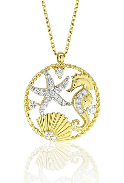 Lilarote Deniz Atı ve Yıldızı Taşlı Altın Kolye