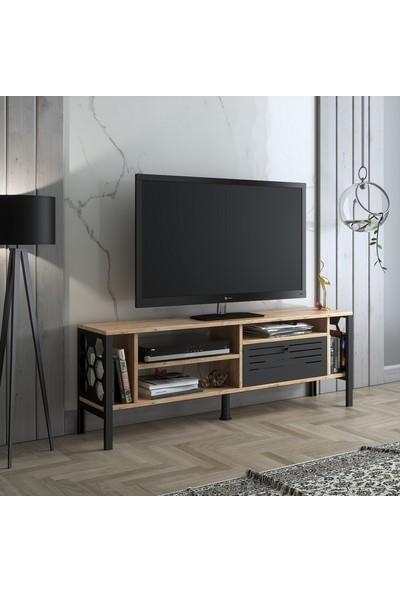 Wood'n Love Themis 140 cm Metal Kapaklı Tv Ünitesi - Atlantik Çam / Siyah