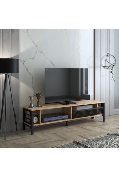 Wood'n Love Artemis 140 cm Metal Kapaklı Tv Ünitesi - Atlantik Çam / Siyah