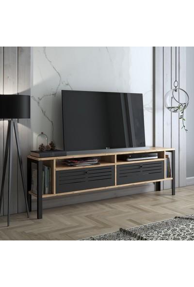 Wood'n Love Mars 160 cm Metal Kapaklı Tv Ünitesi - Atlantik Çam / Siyah