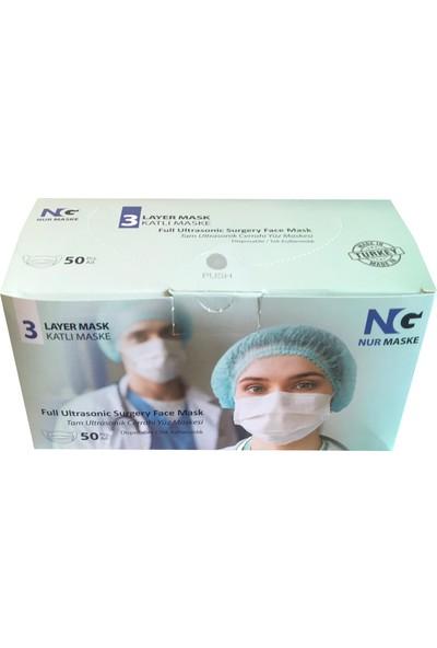 Nur Ultrasonik Telli 3 Katlı Lastikli Medikal-Cerrahi Maske Mavi 300 Adet