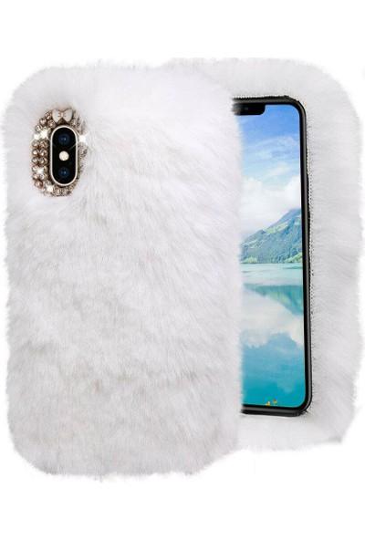 Omelo Huawei P9 EVA-L09 Kılıf Peluş Tüylü Taşlı Silikon Tpu Kapak Beyaz