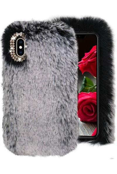 Omelo HTC Desire 828 Kılıf Peluş Tüylü Taşlı Silikon Tpu Kapak Gri