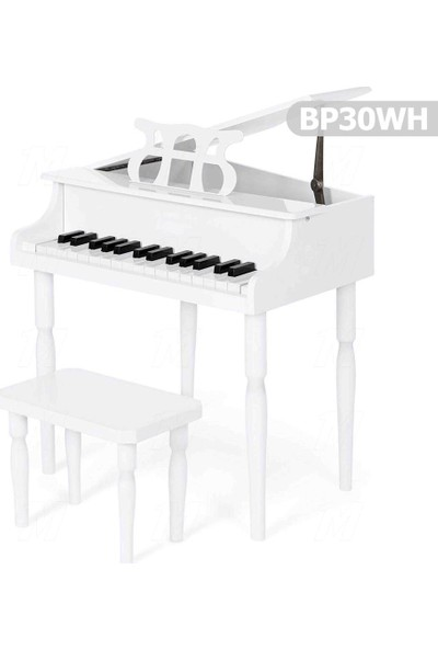 Manuel Raymond Çocuk Için Ahşap Piyano BP30WH + Nota Sehpası ve Tabure