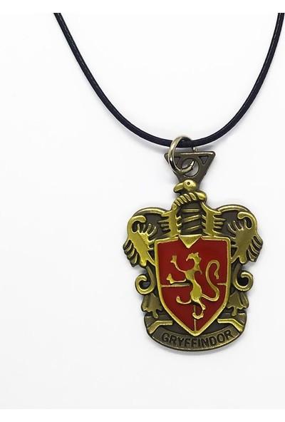 AlpCollection Harry Potter Gryffindor Hogwarts Amblem Deri İpli Metal Kolye