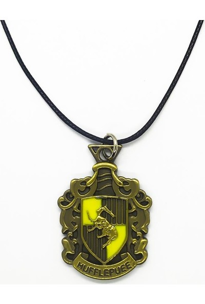 AlpCollection Harry Potter Hufflepuee Hogwarts Deri İpli Metal Kolye