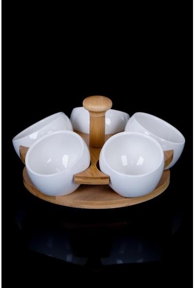 Acar La Pure Döner Bambu Stand 5'li Porselen Sosluk