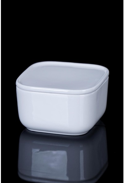 Acar Pure White Porselen Kare Kapaklı Kase - 9 cm
