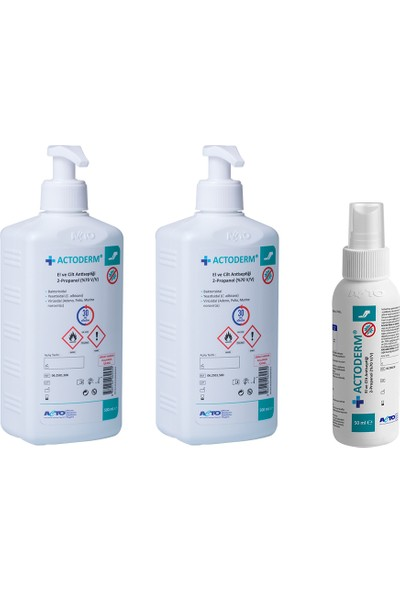 Actoderm El ve Cilt Dezenfektanı 2 x 500 ml Propanol %70 + 50 ml Sprey