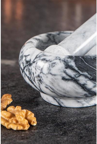 Doreline Naturel Mermer Öğütücü Havan Gri-Beyaz Ø 10 cm