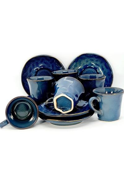Keramika Seramik Lacivert 12 Parça 6 Kişilik Kahve Fincan Takımı