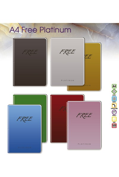 Keskin Color 320342-99 Free Platinum A4 Kareli 100 Yaprak Defter