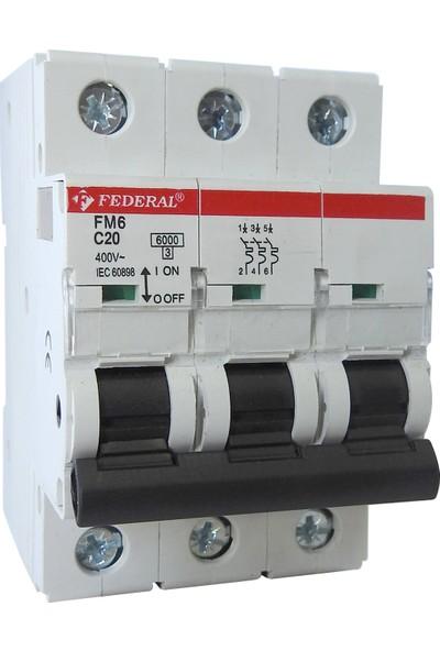Federal Elektrik, Özel Ürün, 4 Adet 6kA, 3 Kutuplu, Minyatür Devre Kesici, 9EI-C1033-0020, 3P, 20A, AC