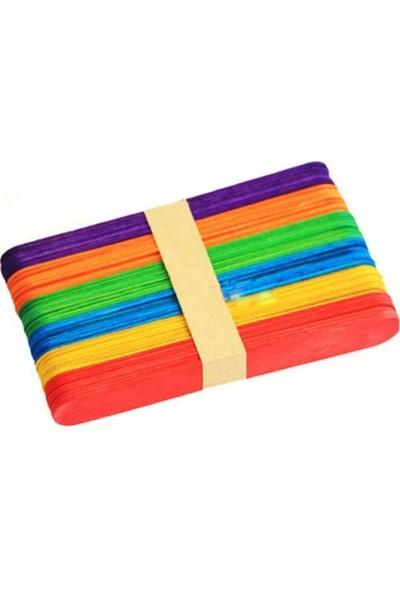 Hellove Renkli Ahşap Dil Çubuğu Büyük Dondurma Çubuğu Renkli 50'li