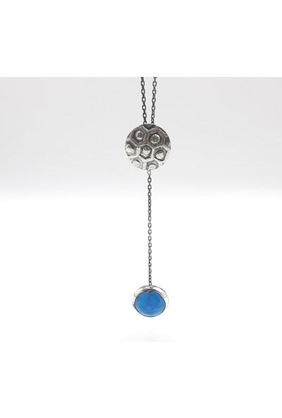 JUST4YOU 925 Ayar Gümüş Turkuaz Doğal Taşlı Antik Gümüş Özel Tasarım El Yapımı Kolye