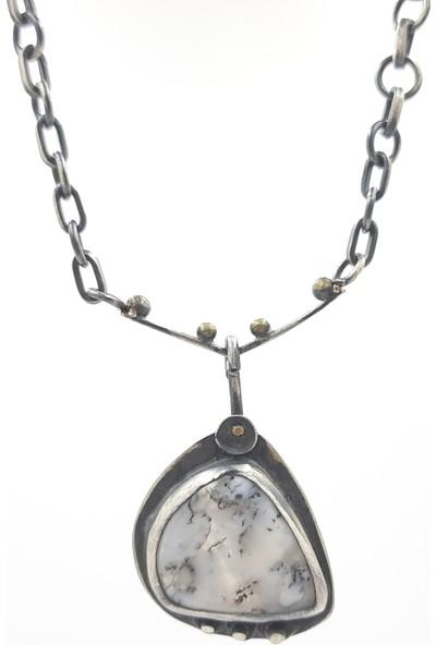 JUST4YOU 925 Ayar Gümüş Dentrit Agat Doğal Taşlı Oksitli Özel Tasarım El Yapımı Kolye