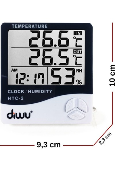Diwu Htc-2 Problu Termometre Nem Ölçer Saat Takvim
