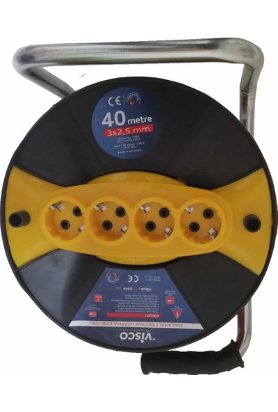 Visco 3 x 2,5 Makaralı Seyyar Uzatma Kablosu 40 m