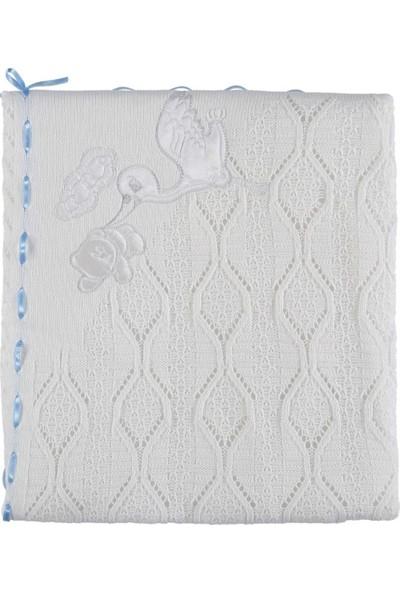 Mızmız Bebe Elyaflı Leylekli Battaniye 80 x 100 cm Beyaz Mavi