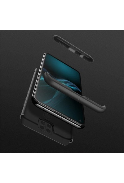 Case 4U Xiaomi Redmi Note 9S / 9 Pro Kılıf 360 Derece Korumalı Tam Kapatan Koruyucu Sert Silikon Ays Arka Kapak Siyah Kırmızı