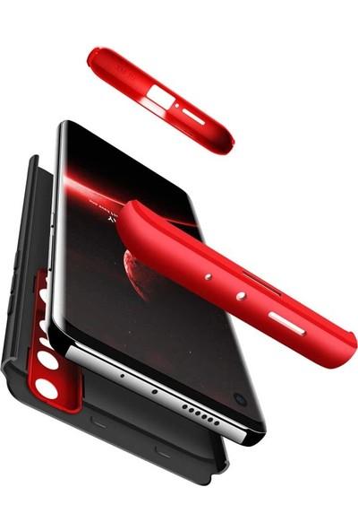 Case 4U Xiaomi Mi Note 10 Lite Kılıf 360 Derece Korumalı Tam Kapatan Koruyucu Sert Silikon Ays Arka Kapak Siyah Kırmızı