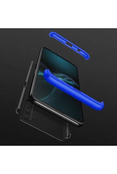 Case 4U Realme 6 Pro Kılıf 360 Derece Korumalı Tam Kapatan Koruyucu Sert Silikon Ays Arka Kapak Siyah Mavi