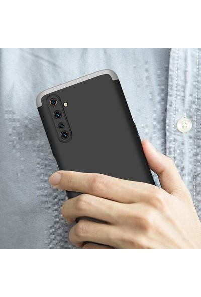 Case 4U Realme 6 Kılıf 360 Derece Korumalı Tam Kapatan Koruyucu Sert Silikon Ays Arka Kapak Mavi