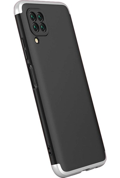 Case 4U Huawei P40 Lite Kılıf 360 Derece Korumalı Tam Kapatan Koruyucu Sert Silikon Ays Arka Kapak Siyah Gümüş